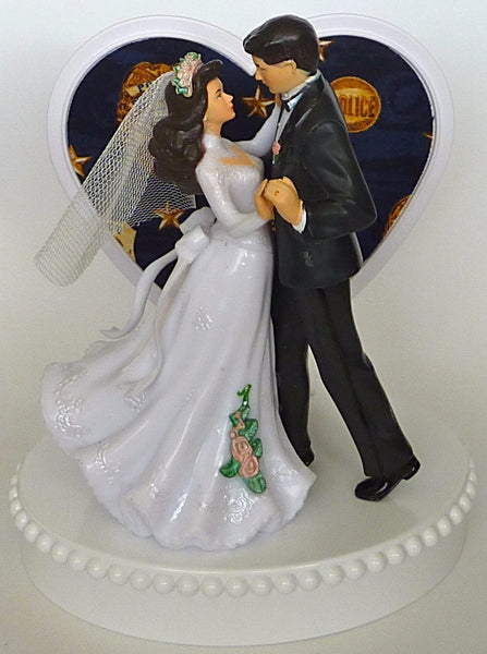 Police wedding cake topper FunWeddingThings.com policeman police officer department bride groom reception heart