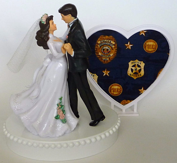 Police officer cake topper Fun Wedding Things department policeman bride groom pretty dancing