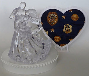 Bride groom dancing wedding cake topper Fun Wedding Things police themed pretty heart