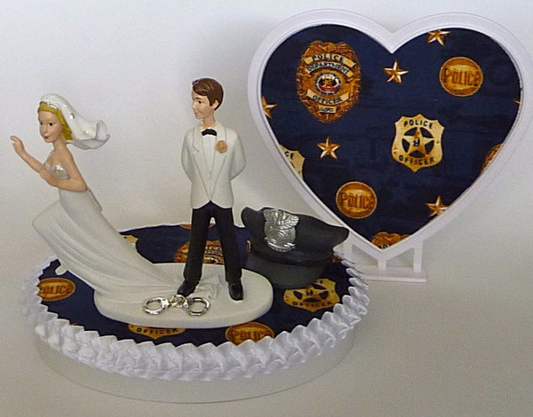 Policeman wedding cake topper Fun Wedding Things reception bridal shower gift idea humorous funny policeman runaway bride officer