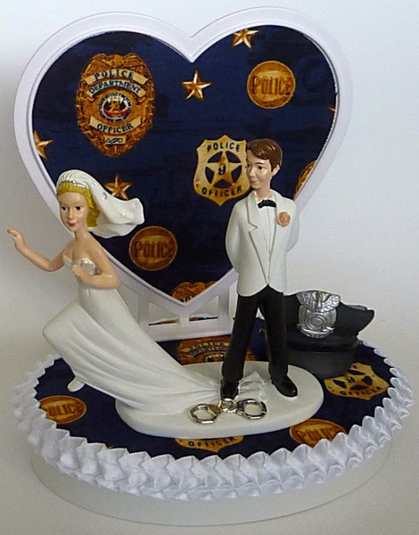 Police department wedding cake topper groom's cake top Fun Wedding Things police officer policeman runaway bride groom humorous