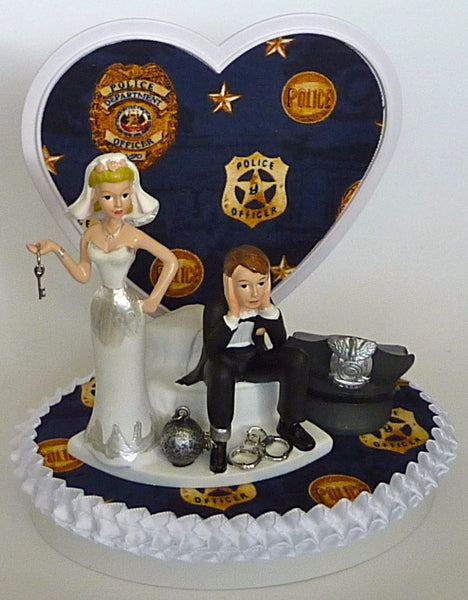 FunWeddingThings.com police officer wedding cake topper bride groom