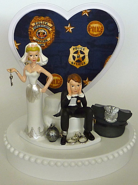 Humorous wedding cake topper Fun Wedding Things police officer policeman funny