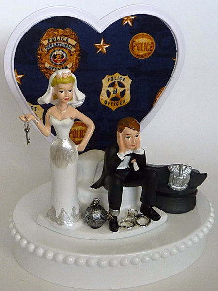Police wedding cake topper bride groom FunWeddingThings.com humorous