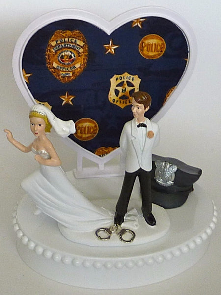 FunWeddingThings.com policeman cake topper wedding police officer humorous department runaway bride groom's cake top funny cap hat handcuffs