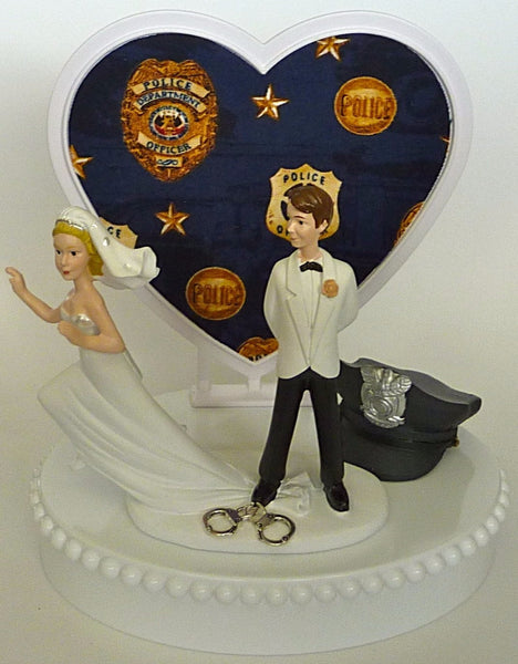 Fun Wedding Things police officer wedding cake topper humorous policeman runaway bride groom handcuffs heart background hat cap