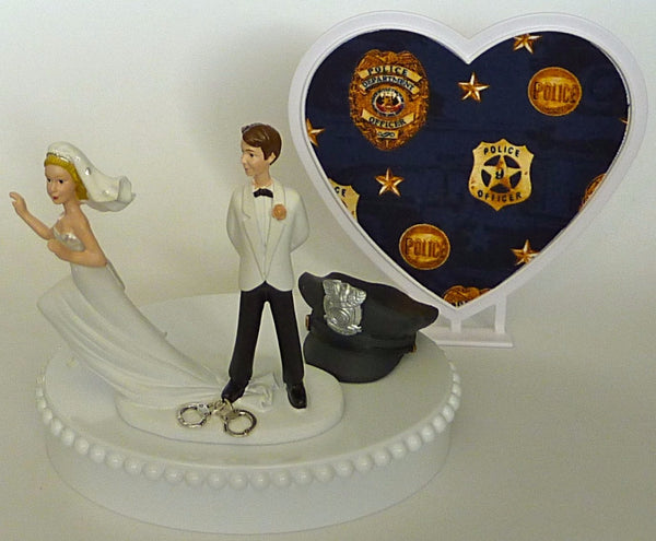 Police officer wedding cake topper FunWeddingThings.com policeman cap hat humorous funny runaway bride groom's cake top handcuffs