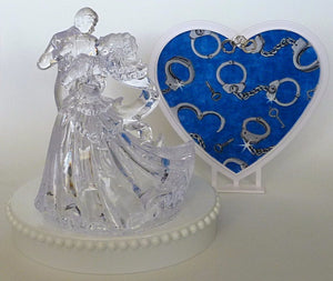 Cuffs wedding cake topper handcuffs Fun Wedding Things bride groom clear couple dancing first dance heart pretty