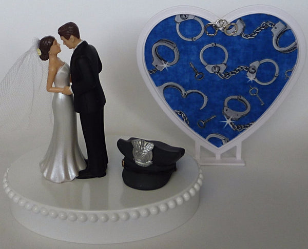 Pretty police department wedding cake topper bride and groom