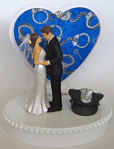 Bride and groom police wedding cake topper