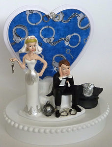 FunWeddingThings.com police department cake topper bride groom humorous