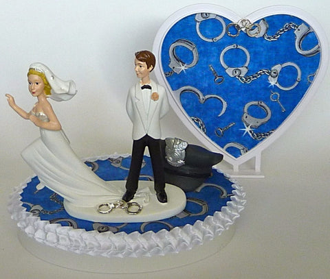 Handcuffs cake topper wedding FunWeddingThings.com police groom's cake top policeman humorous funny