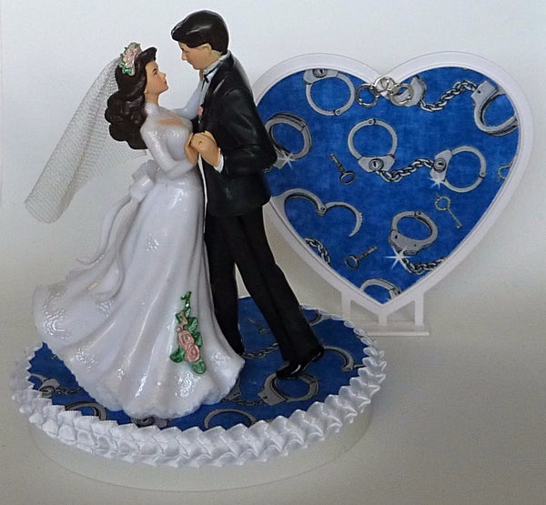 FunWeddingThings.com police wedding cake topper department officer bride groom