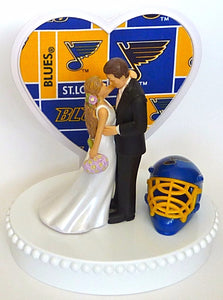 FunWeddingThings.com Saint Louis Blues hockey wedding cake topper St. bride groom