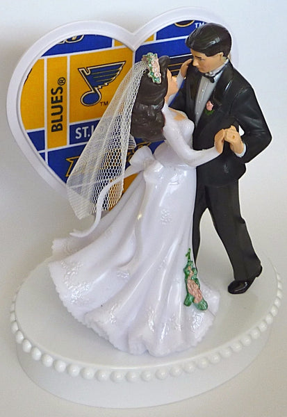 Blue turf ice hockey wedding cake topper St. Louis Blues FunWeddingThings.com