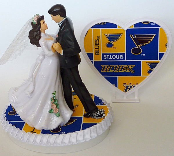 FunWeddingThings.com St. Louis Blues hockey wedding cake topper bride and groom dancing