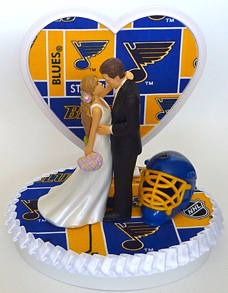 St. Louis Blues hockey wedding cake topper FunWeddingThings.com
