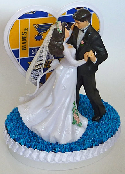 Saint Louis Blues hockey wedding cake topper Fun Wedding Things bride and groom dancing