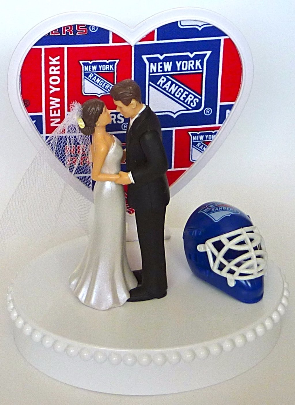 NY Rangers wedding cake topper hockey sports bride groom