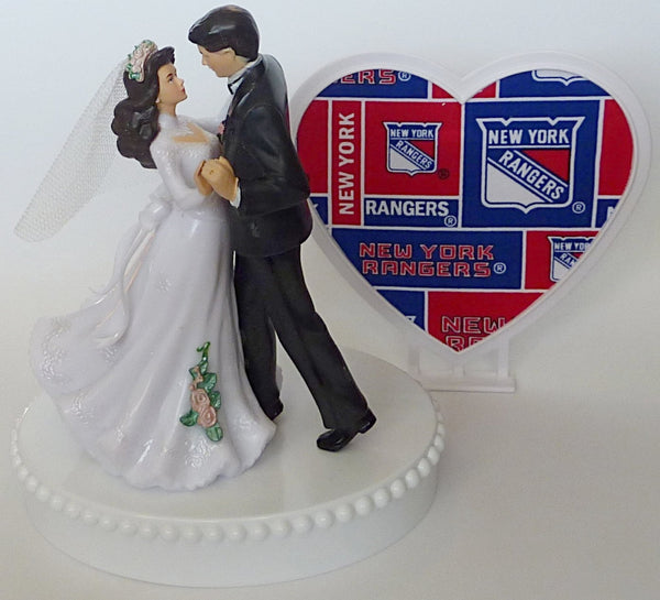 NY Rangers blue turf wedding cake topper dancing bride and groom FunWeddingThings.com