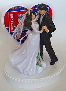 New York Rangers bride and groom wedding cake topper dancing