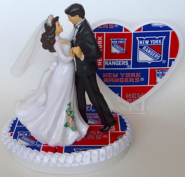 New York Rangers hockey wedding cake topper Fun Wedding Things bride and groom dancing pretty heart blue turf unique original cake top