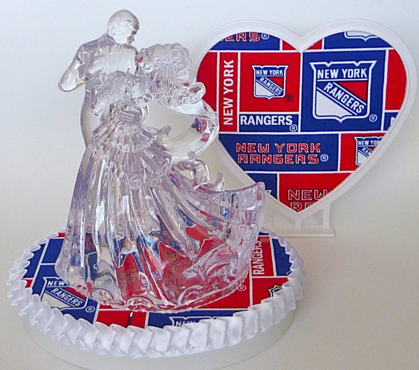 Fun Wedding Things New York Rangers wedding cake topper hockey NY bride and groom