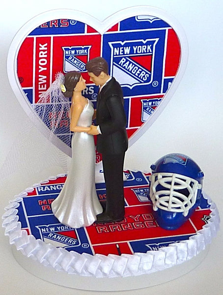 Hockey fans wedding cake topper New York Rangers bride groom