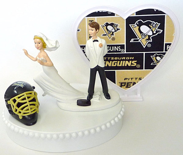 Pittsburgh Penguins groom's cake topper humorous wedding cake top FunWeddingThings.com hockey bride groom fans