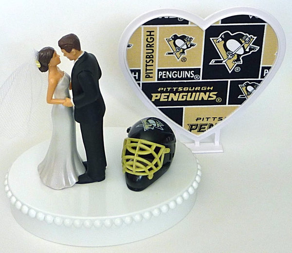 Pgh Penguins wedding cake topper hockey bride groom