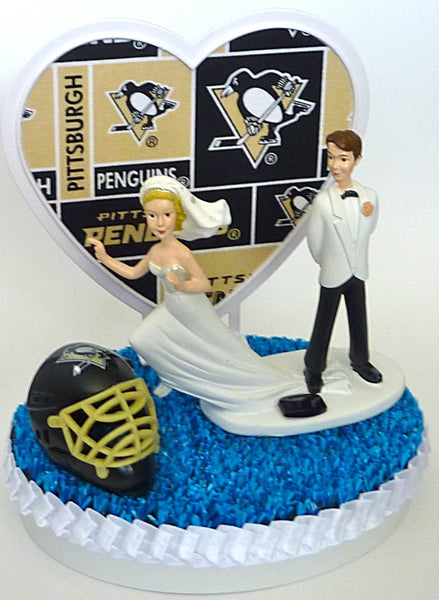 Blue turf ice hockey wedding cake topper Pittsburgh Penguins FunWeddingThings.com