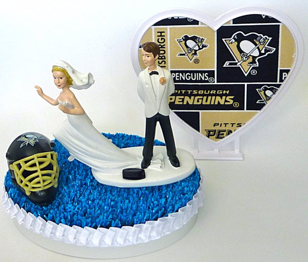 Pittsburgh Pens wedding cake topper hockey Fun Wedding Things Penguins sports fans bride groom humorous funny
