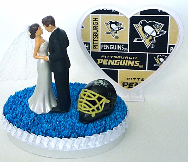 Pittsburgh Penguins wedding cake topper blue turf ice hockey fans fun