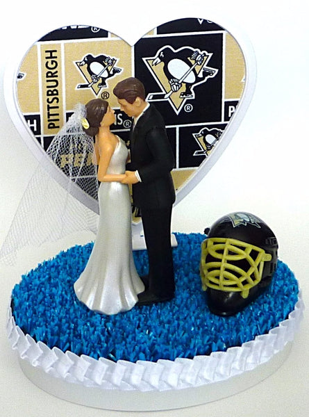 FunWeddingThings.com Pittsburgh Penguins cake topper wedding hockey