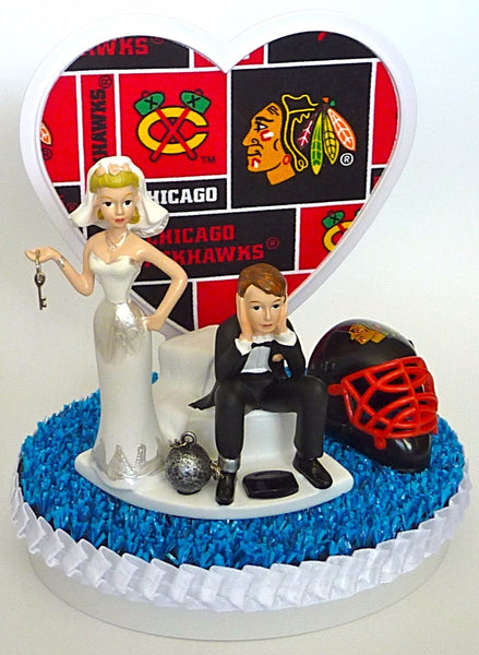 FunWeddingThings.com Chicago Blackhawks wedding cake topper