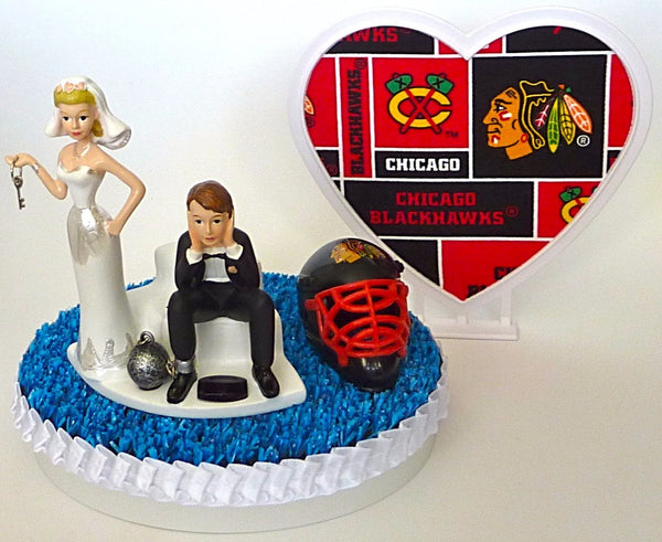 Chicago Blackhawks groom's cake topper wedding fun