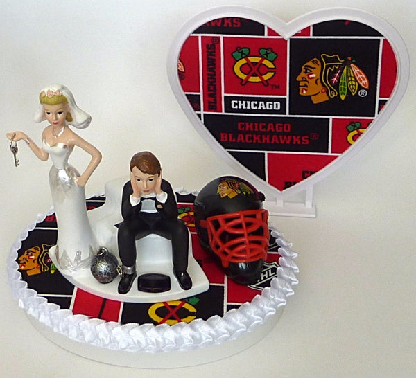 Humorous Chicago Blackhawks wedding cake topper funny