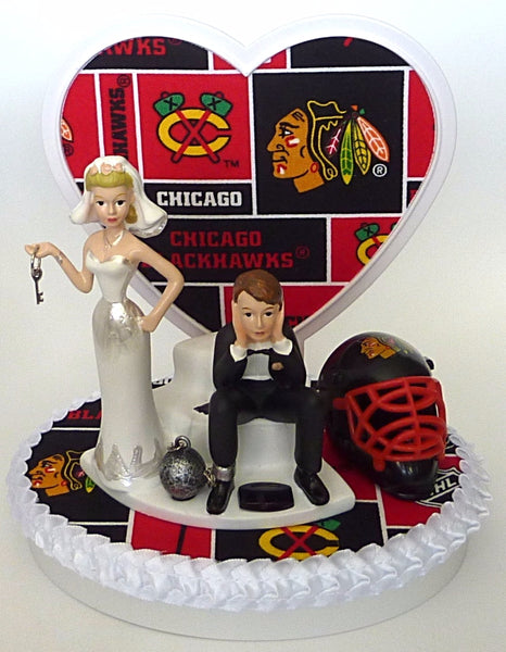 Chicago Blackhawks wedding cake topper FunWeddingThings.com funny