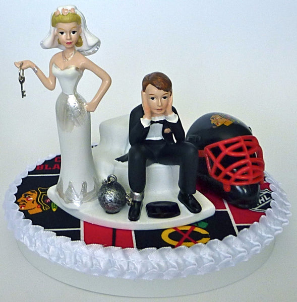 Fun Wedding Things Chicago Blackhawks groom's cake topper