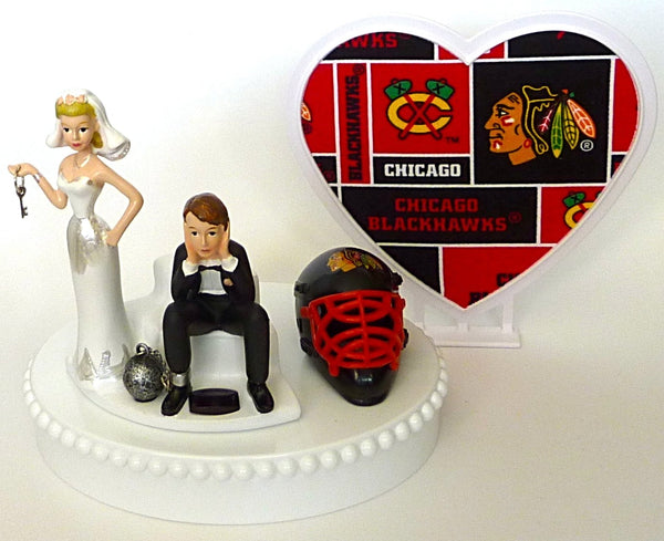 Bride groom Chicago Blackhawks funny wedding cake topper Fun Wedding Things humorous hockey sports fans