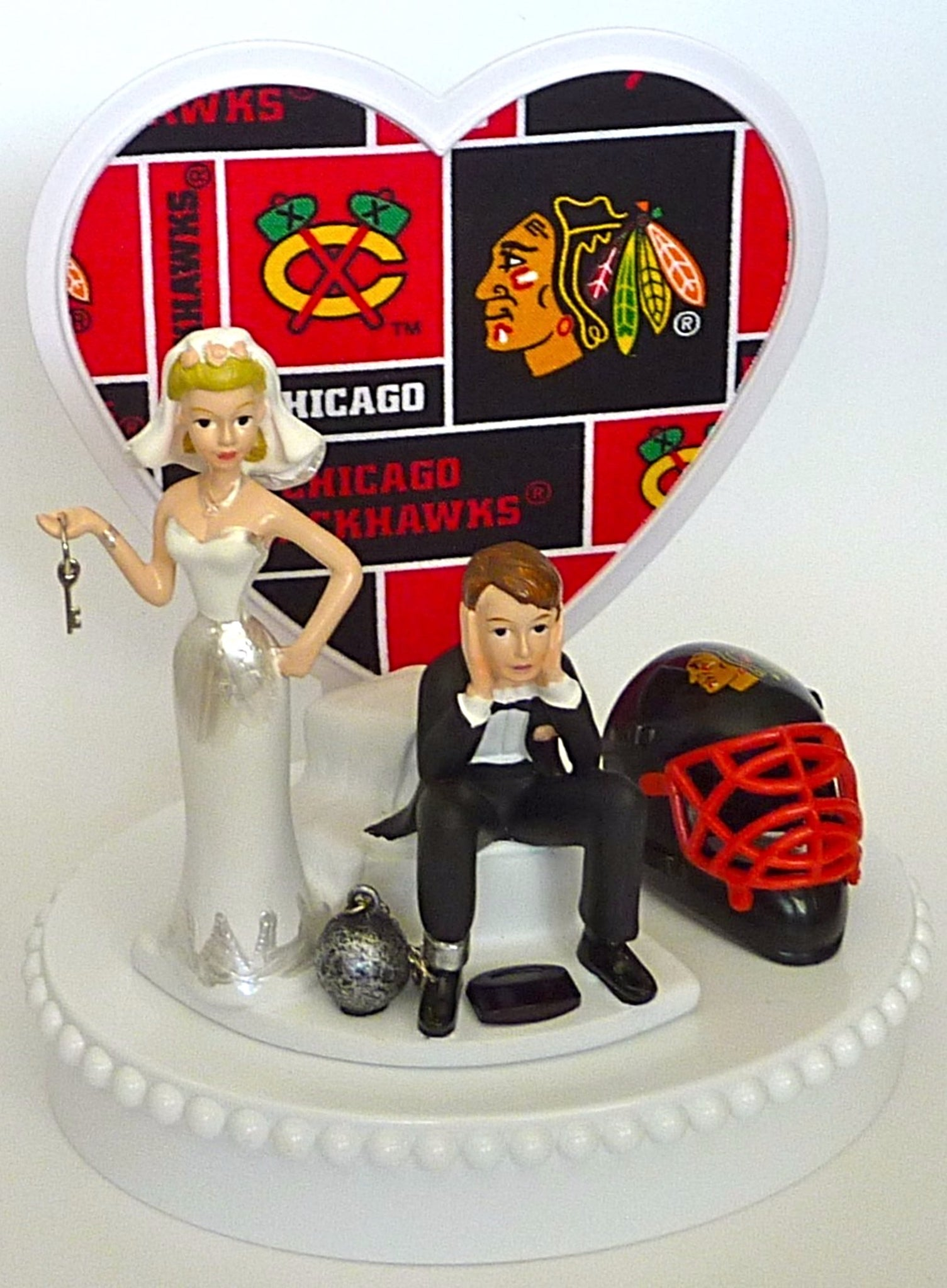 Funny hockey wedding cake topper Chicago Blackhawks FunWeddingThings.com