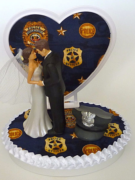Policeman wedding cake topper bride and groom FunWeddingThings.com