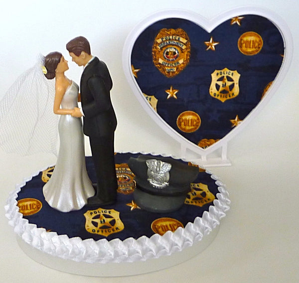 Police department wedding cake topper Fun Wedding Things heart background cap pretty