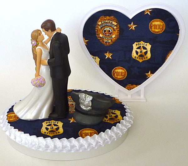 Fun Wedding Things police themed wedding cake topper department officer bride groom gift idea