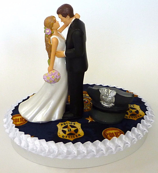 Police themed wedding cake topper Fun Wedding Things bridal shower reception gift idea
