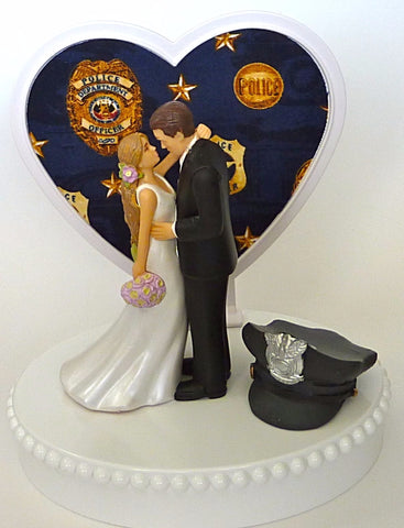 FunWeddingThings.com police themed wedding cake topper pretty bride and groom hat heart background