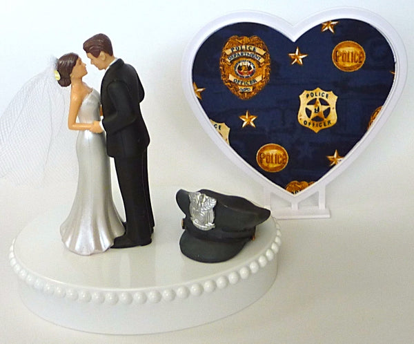 Pretty police wedding cake topper officer department FunWeddingThings.com