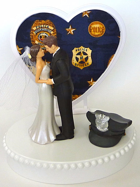 FunWeddingThings.com police wedding cake topper policeman police department bride groom