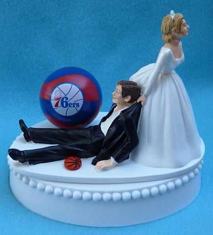 Philadelphia 76ers wedding cake topper Sixers basketball NBA sports fans bride groom dragging funny humorous Fun Wedding Things cute reception gift item idea