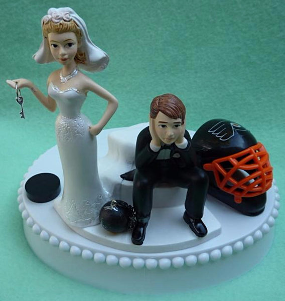 Philadelphia Flyers wedding cake topper hockey NHL fans bride sad groom ball chain key humorous funny reception gift item idea FunWeddingThings.com